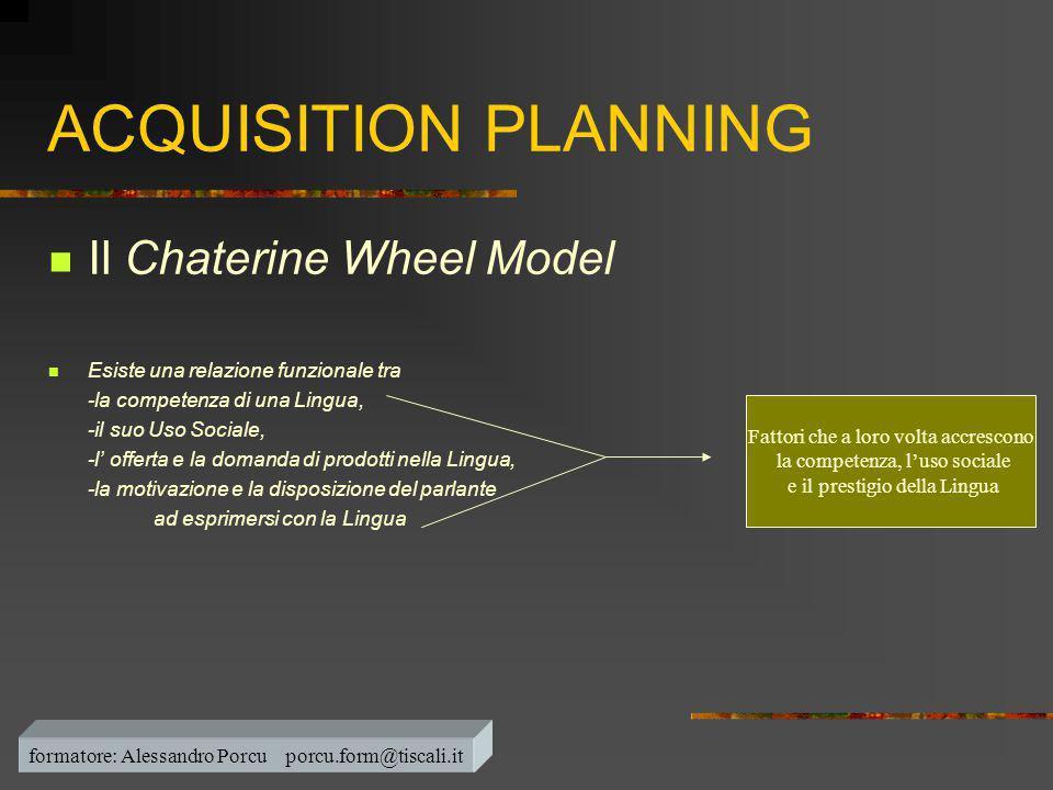 ACQUISITION PLANNING  Il Chaterine Wheel Model  Esiste una relazione funzionale tra -la competenza di una Lingua, -il suo Uso Sociale, -l' offerta e