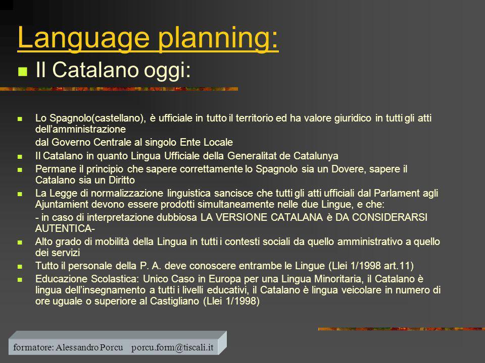 Language planning:  Il Catalano oggi:  Lo Spagnolo(castellano), è ufficiale in tutto il territorio ed ha valore giuridico in tutti gli atti dell'amm