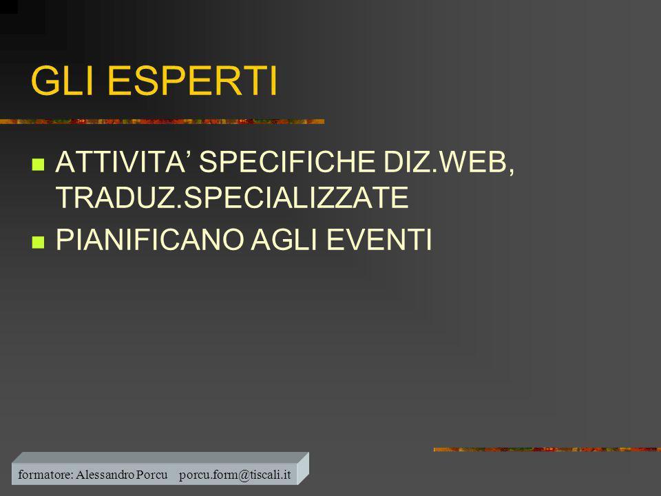 GLI ESPERTI  ATTIVITA' SPECIFICHE DIZ.WEB, TRADUZ.SPECIALIZZATE  PIANIFICANO AGLI EVENTI formatore: Alessandro Porcu porcu.form@tiscali.it