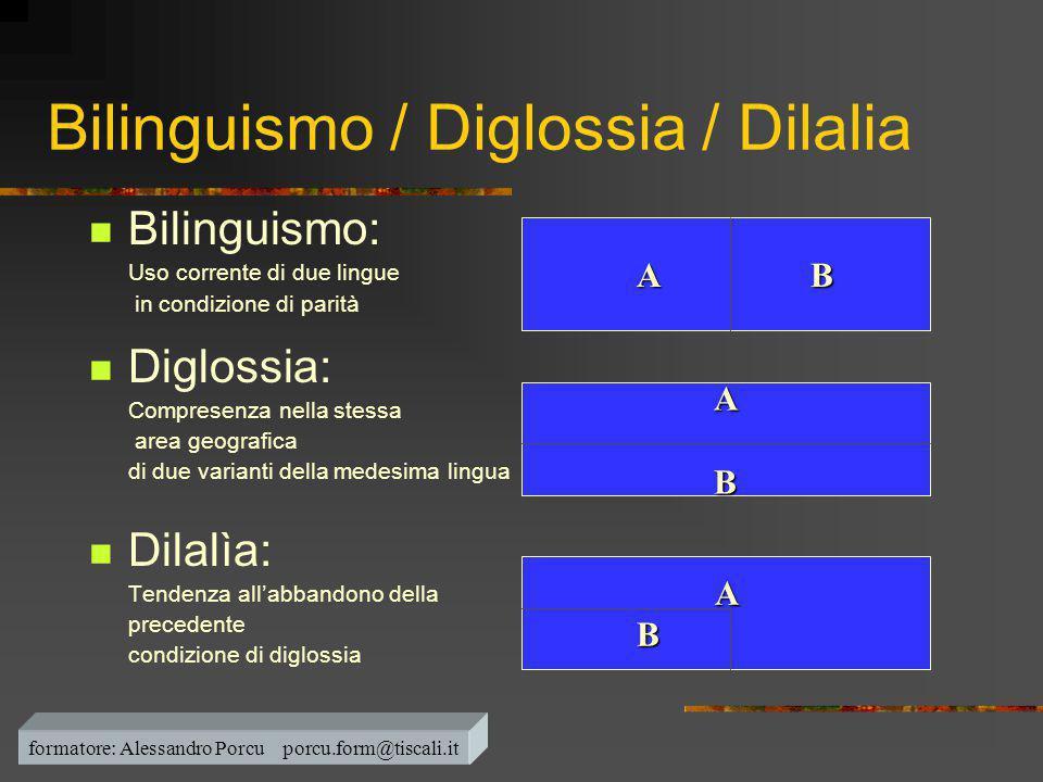 Bilinguismo / Diglossia / Dilalia  Bilinguismo: Uso corrente di due lingue in condizione di parità  Diglossia: Compresenza nella stessa area geograf
