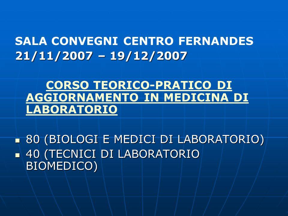 SALA CONVEGNI CENTRO FERNANDES CORSO PRATICO DI MICROBIOLOGIA CORSO PRATICO DI MICROBIOLOGIA LA MICROBIOLOGIA CLINICA LA MICROBIOLOGIA CLINICA NELLA PRATICA DI LABORATORIO NELLA PRATICA DI LABORATORIO NOVEMBRE 2007 – GENNAIO 2008  23 PARTECIPANTI (BIOLOGI, MEDICI DI LABORATORIO E TECNICI DI LABORATORIO BIOMEDICO)