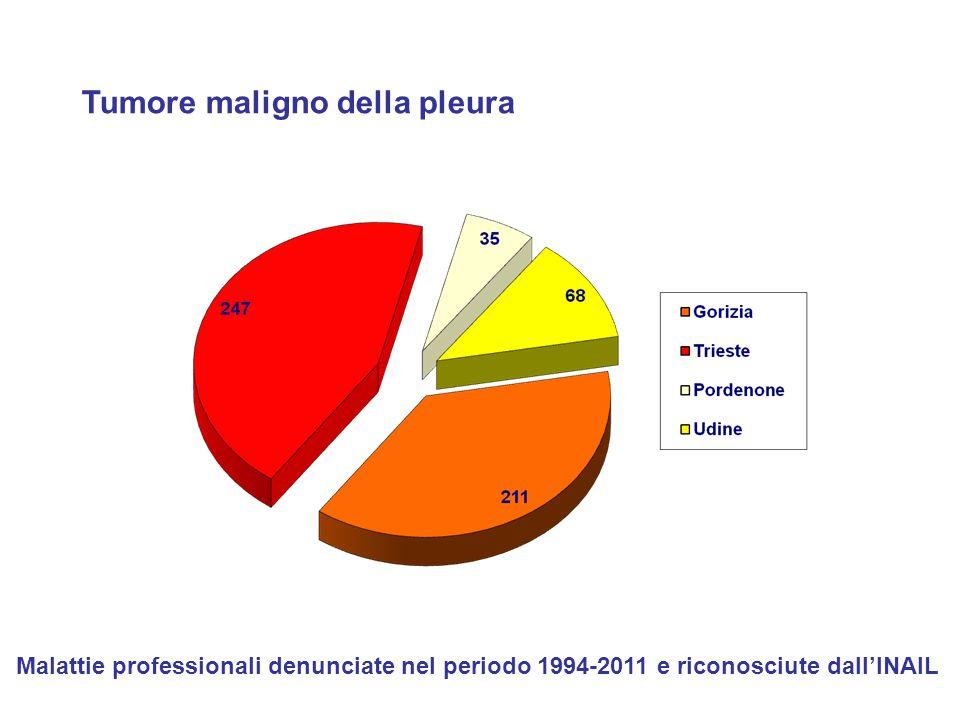 Tumore maligno della pleura Malattie professionali denunciate nel periodo 1994-2011 e riconosciute dall'INAIL