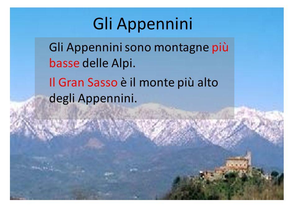 Gli Appennini Gli Appennini sono montagne più basse delle Alpi. Il Gran Sasso è il monte più alto degli Appennini.