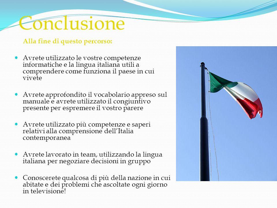 Conclusione Alla fine di questo percorso:  Avrete utilizzato le vostre competenze informatiche e la lingua italiana utili a comprendere come funziona