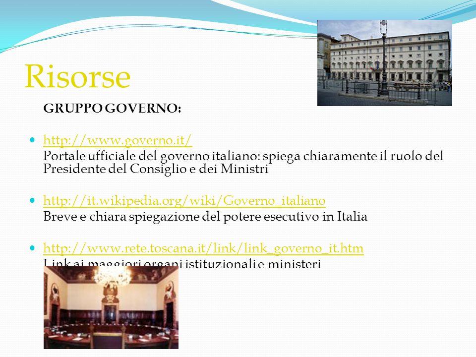 Risorse GRUPPO GOVERNO:  http://www.governo.it/ http://www.governo.it/ Portale ufficiale del governo italiano: spiega chiaramente il ruolo del Presid
