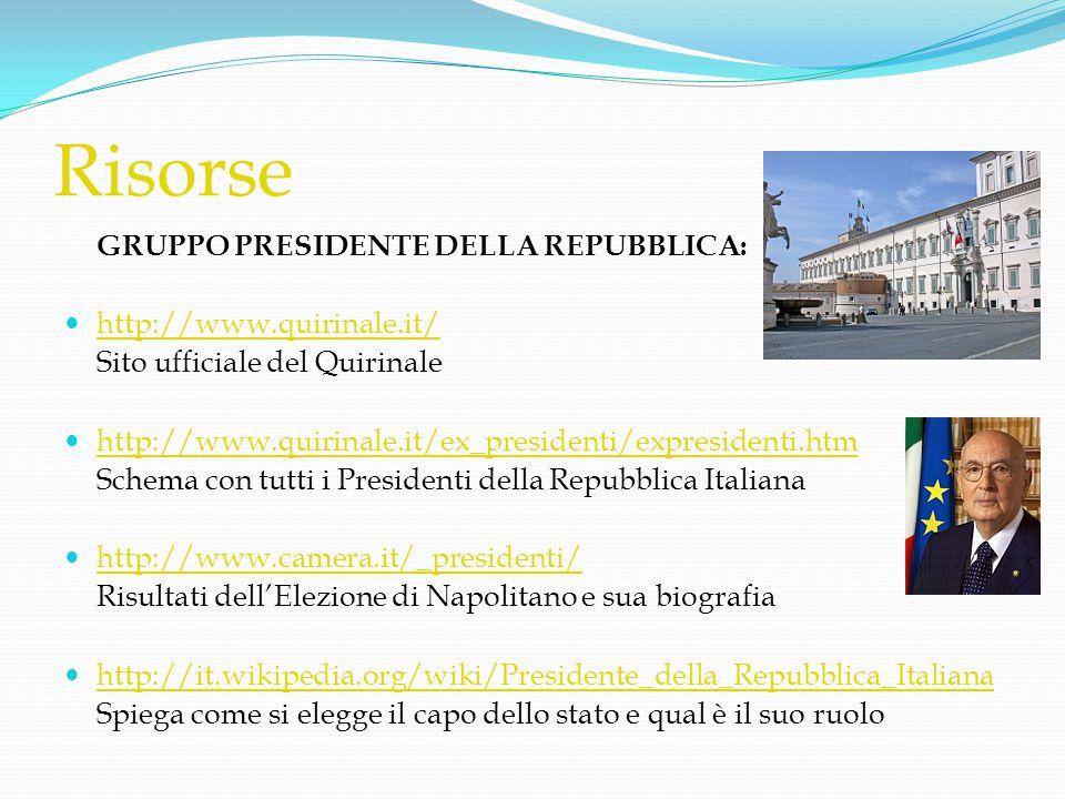 Risorse GRUPPO PRESIDENTE DELLA REPUBBLICA:  http://www.quirinale.it/ http://www.quirinale.it/ Sito ufficiale del Quirinale  http://www.quirinale.it
