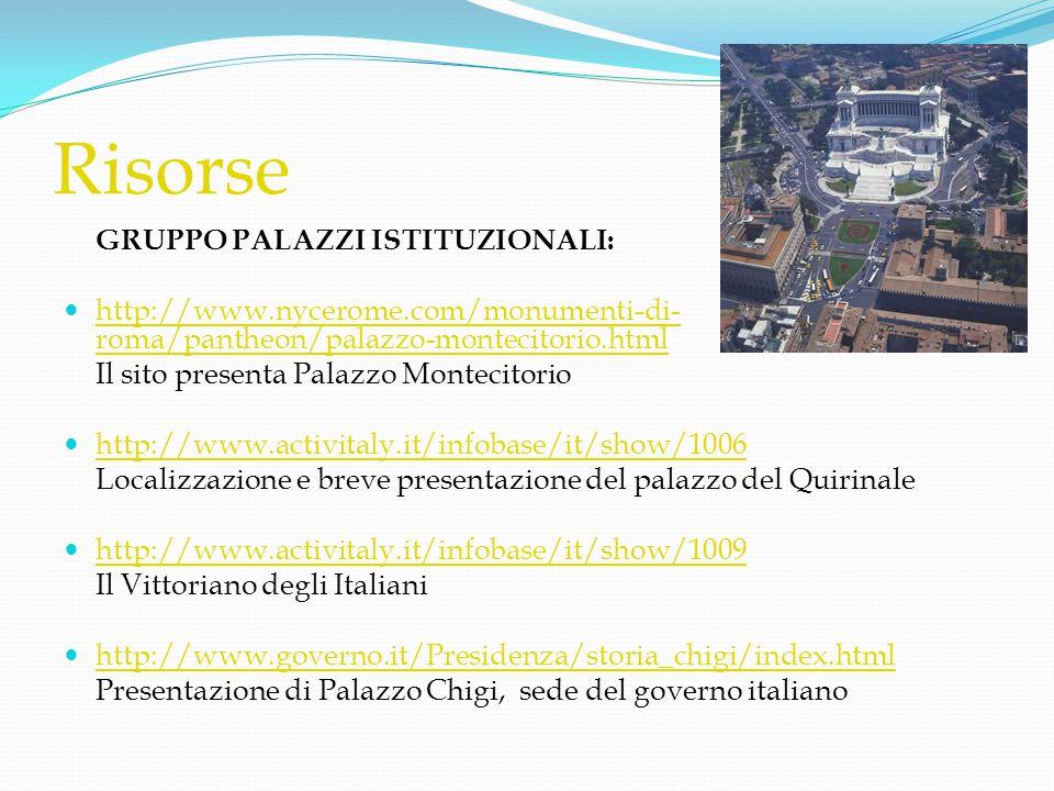 Risorse GRUPPO PALAZZI ISTITUZIONALI:  http://www.nycerome.com/monumenti-di- roma/pantheon/palazzo-montecitorio.html http://www.nycerome.com/monument