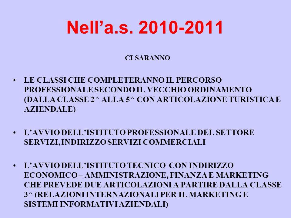 Nell'a.s. 2010-2011 CI SARANNO •LE CLASSI CHE COMPLETERANNO IL PERCORSO PROFESSIONALE SECONDO IL VECCHIO ORDINAMENTO (DALLA CLASSE 2^ ALLA 5^ CON ARTI