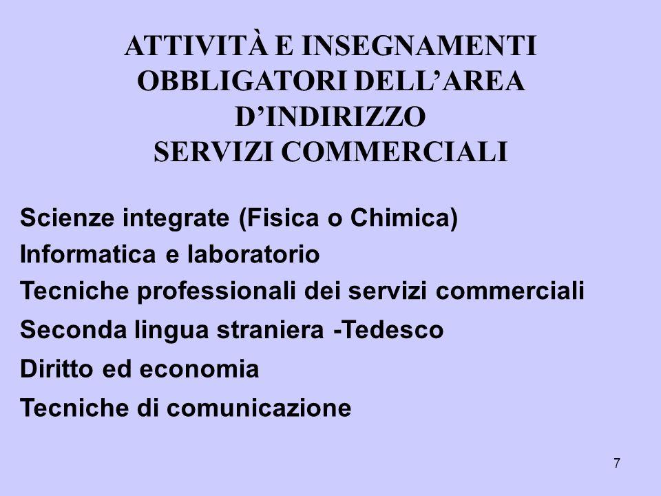 7 Tecniche professionali dei servizi commerciali ATTIVITÀ E INSEGNAMENTI OBBLIGATORI DELL'AREA D'INDIRIZZO SERVIZI COMMERCIALI Scienze integrate (Fisi