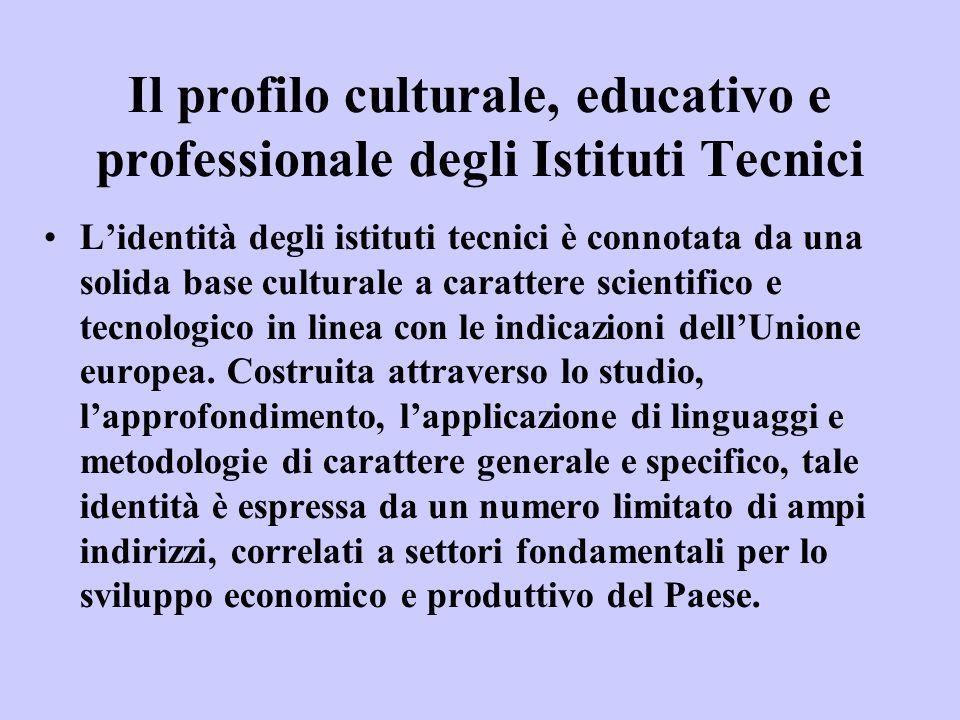 Il profilo culturale, educativo e professionale degli Istituti Tecnici •L'identità degli istituti tecnici è connotata da una solida base culturale a c