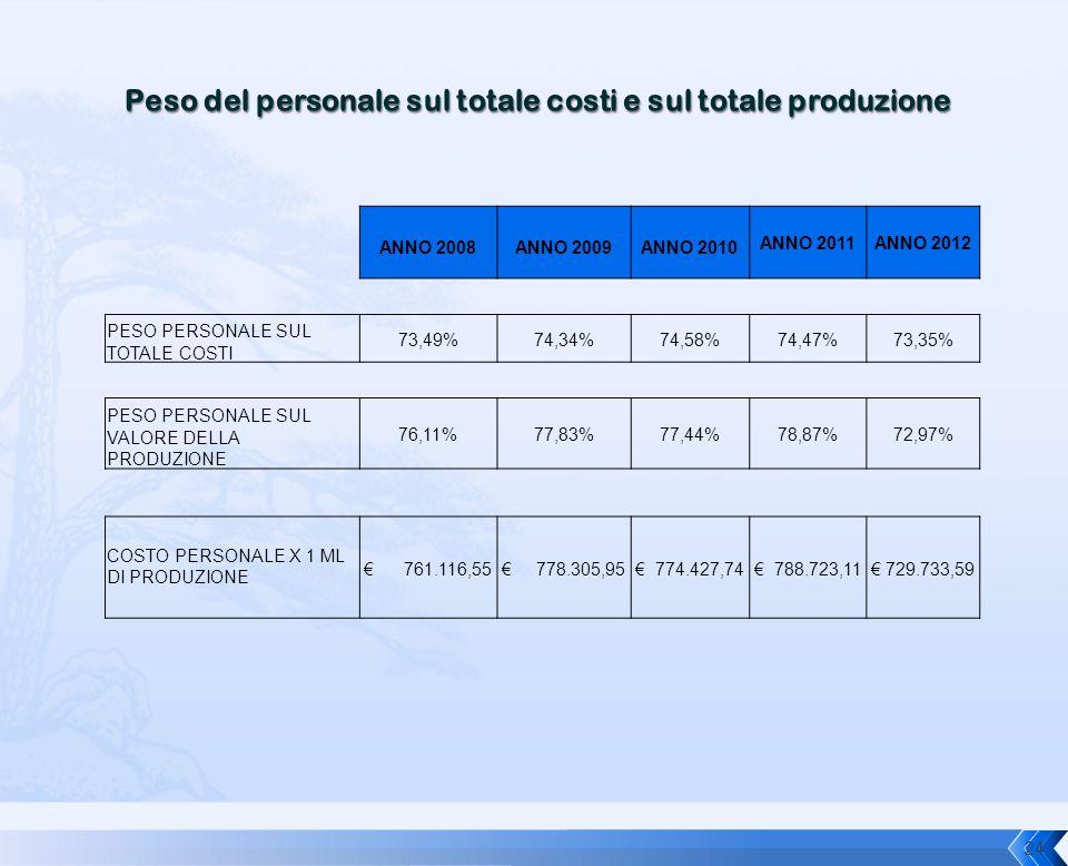 ANNO 2008ANNO 2009ANNO 2010 ANNO 2011ANNO 2012 PESO PERSONALE SUL TOTALE COSTI 73,49%74,34%74,58%74,47%73,35% PESO PERSONALE SUL VALORE DELLA PRODUZIO
