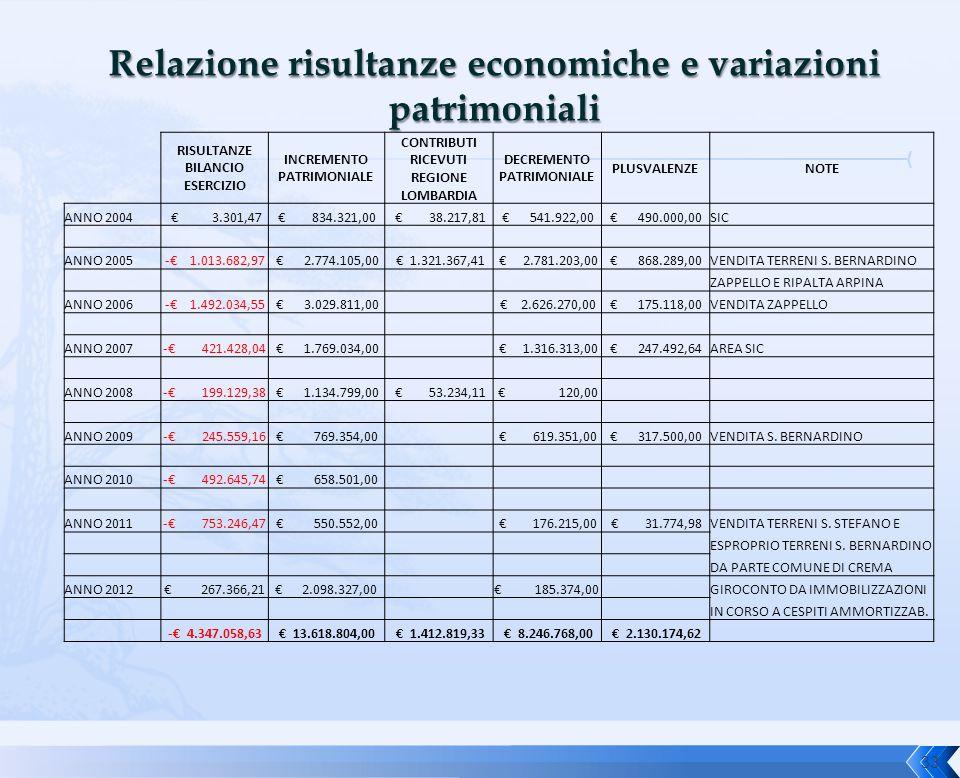 33 RISULTANZE BILANCIO ESERCIZIO INCREMENTO PATRIMONIALE CONTRIBUTI RICEVUTI REGIONE LOMBARDIA DECREMENTO PATRIMONIALE PLUSVALENZENOTE ANNO 2004 € 3.3