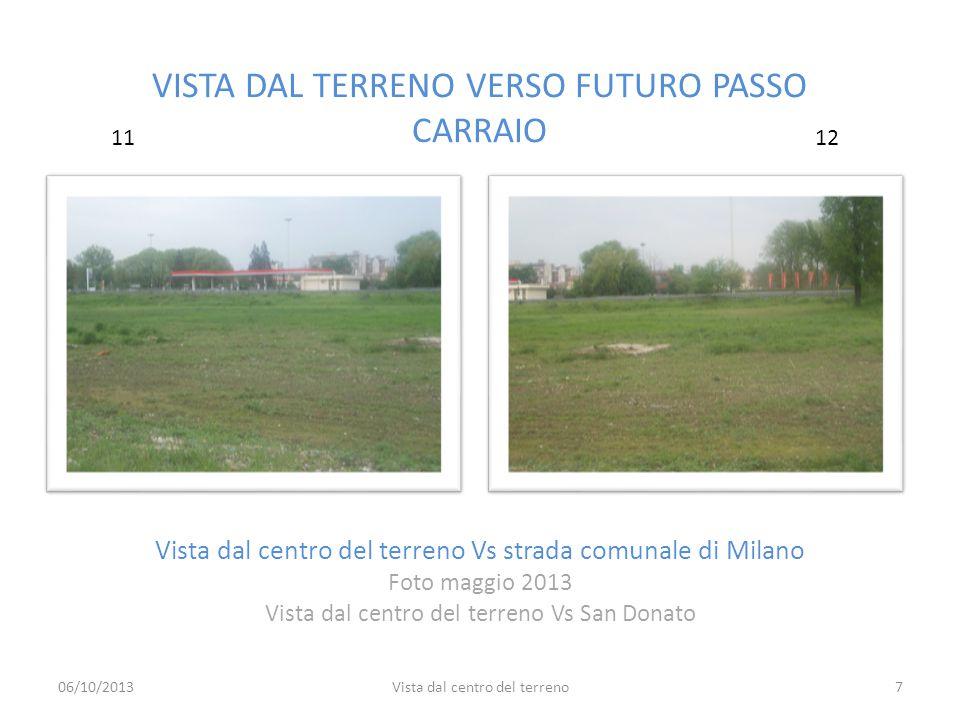 VISTA DAL TERRENO VERSO FUTURO PASSO CARRAIO Vista dal centro del terreno Vs strada comunale di Milano Foto maggio 2013 Vista dal centro del terreno V