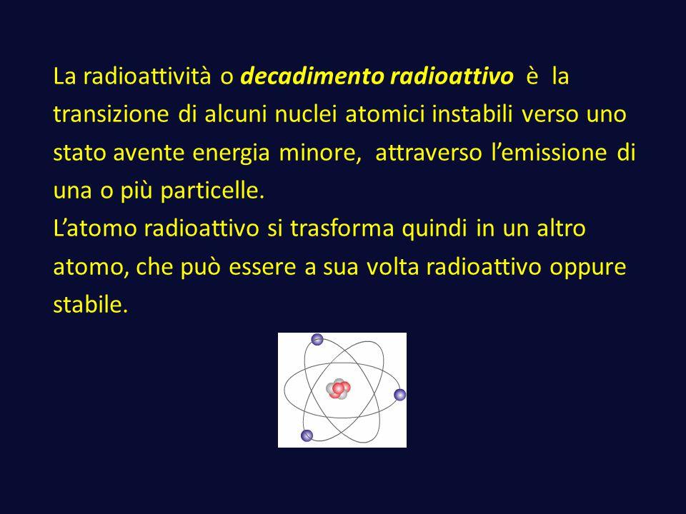 La radioattività o decadimento radioattivo è la transizione di alcuni nuclei atomici instabili verso uno stato avente energia minore, attraverso l'emi