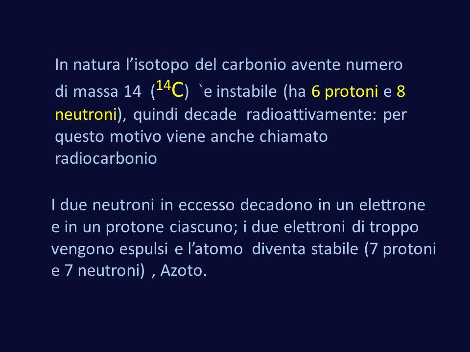 In natura l'isotopo del carbonio avente numero di massa 14 ( 14 C ) `e instabile (ha 6 protoni e 8 neutroni), quindi decade radioattivamente: per ques
