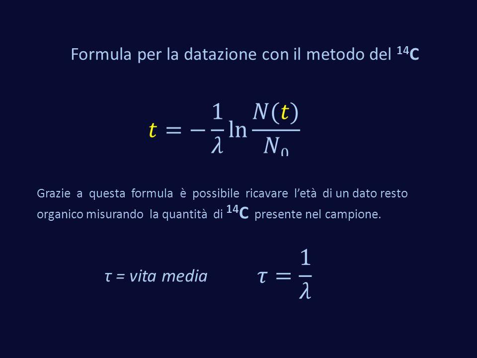 Formula per la datazione con il metodo del 14 C Grazie a questa formula è possibile ricavare l'età di un dato resto organico misurando la quantità di