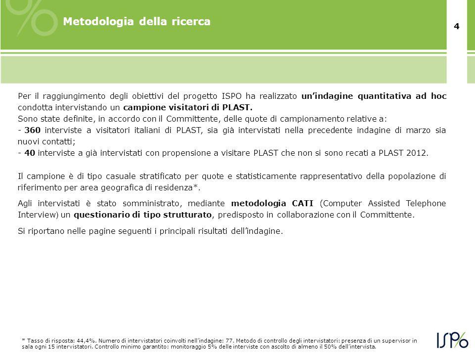 4 Metodologia della ricerca Per il raggiungimento degli obiettivi del progetto ISPO ha realizzato un'indagine quantitativa ad hoc condotta intervistan