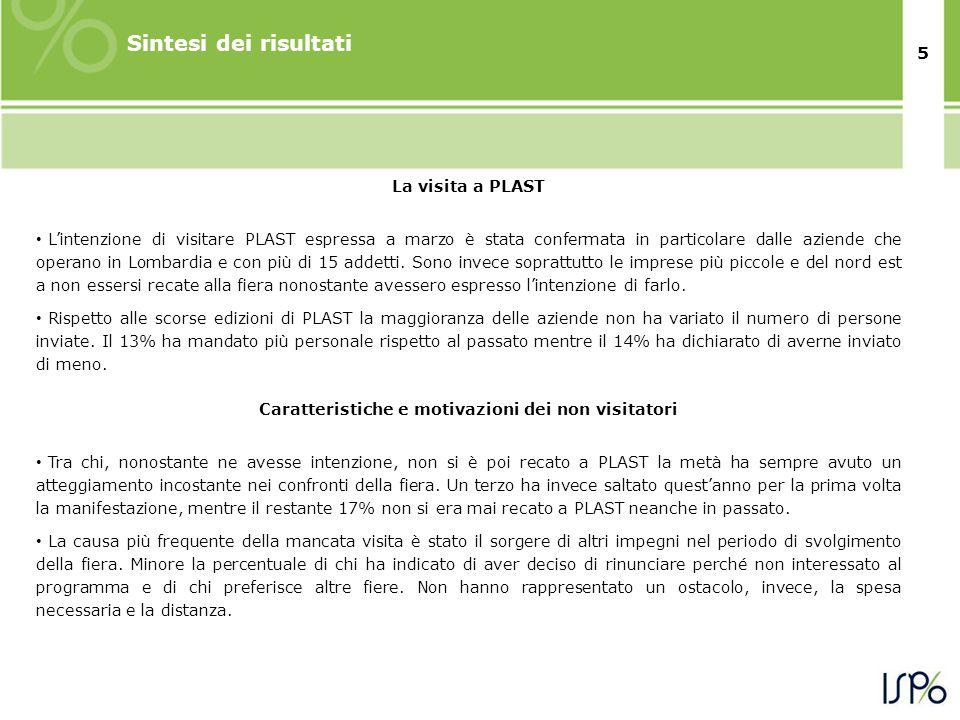 5 Sintesi dei risultati La visita a PLAST • L'intenzione di visitare PLAST espressa a marzo è stata confermata in particolare dalle aziende che operano in Lombardia e con più di 15 addetti.