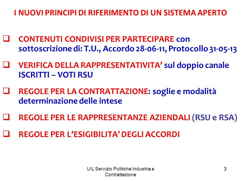 UIL Servizio Politiche Industria e Contrattazione 3 I NUOVI PRINCIPI DI RIFERIMENTO DI UN SISTEMA APERTO  CONTENUTI CONDIVISI PER PARTECIPARE con sottoscrizione di: T.U., Accordo 28-06-11, Protocollo 31-05-13  VERIFICA DELLA RAPPRESENTATIVITA' sul doppio canale ISCRITTI – VOTI RSU  REGOLE PER LA CONTRATTAZIONE: soglie e modalità determinazione delle intese  REGOLE PER LE RAPPRESENTANZE AZIENDALI (RSU e RSA)  REGOLE PER L'ESIGIBILITA' DEGLI ACCORDI
