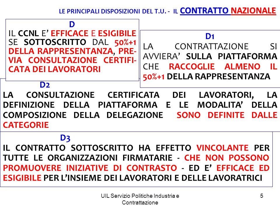 UIL Servizio Politiche Industria e Contrattazione 5 D2 LA CONSULTAZIONE CERTIFICATA DEI LAVORATORI, LA DEFINIZIONE DELLA PIATTAFORMA E LE MODALITA' DELLA COMPOSIZIONE DELLA DELEGAZIONE SONO DEFINITE DALLE CATEGORIE CONTRATTO NAZIONALE LE PRINCIPALI DISPOSIZIONI DEL T.U.