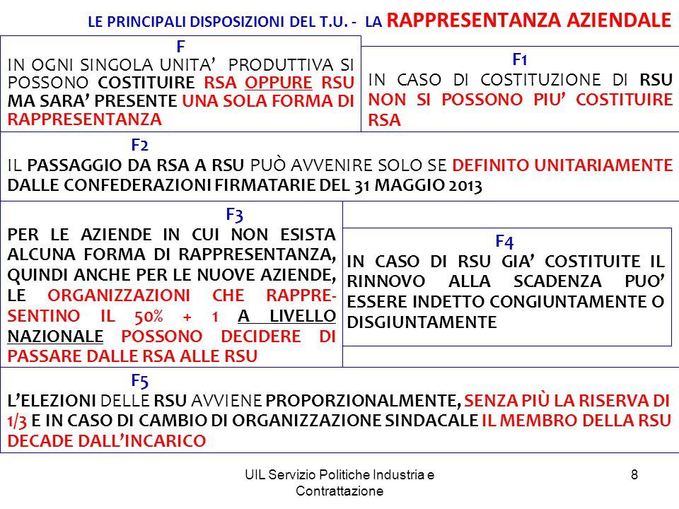 UIL Servizio Politiche Industria e Contrattazione 8 F4 IN CASO DI RSU GIA' COSTITUITE IL RINNOVO ALLA SCADENZA PUO' ESSERE INDETTO CONGIUNTAMENTE O DISGIUNTAMENTE LE PRINCIPALI DISPOSIZIONI DEL T.U.