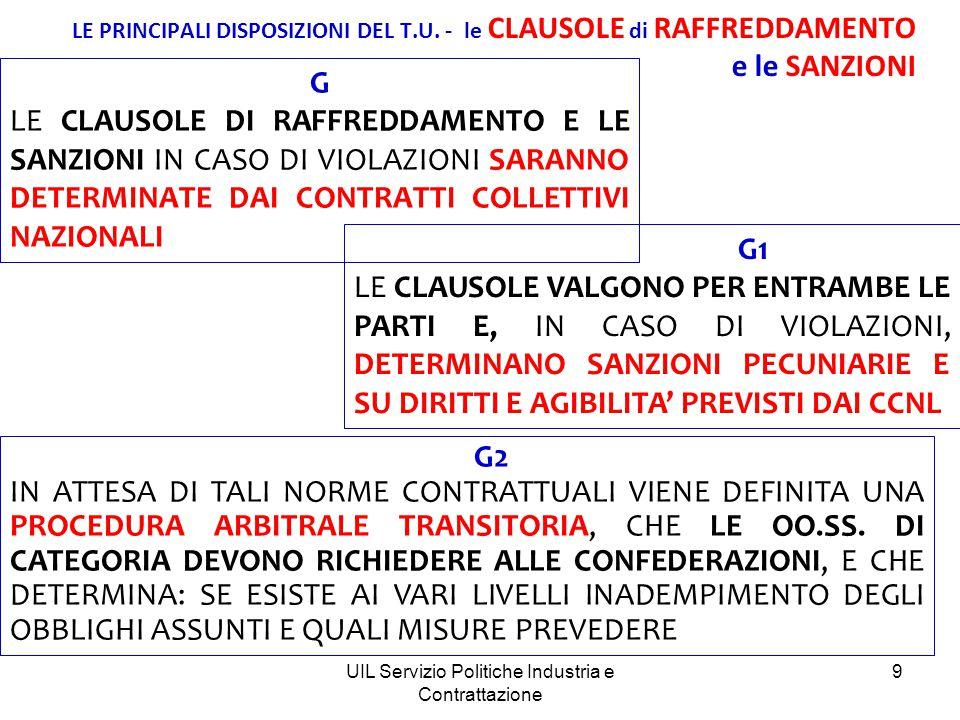 UIL Servizio Politiche Industria e Contrattazione 10 LE PRINCIPALI DISPOSIZIONI DEL T.U.