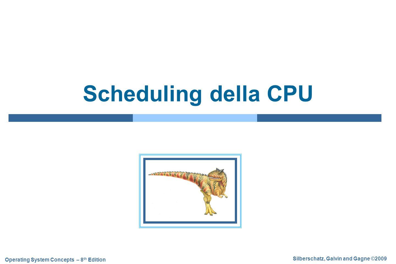 5.32 Silberschatz, Galvin and Gagne ©2009 Operating System Concepts – 8 th Edition Scheduling a code multiple  Nei sistemi in cui i processi sono classificabili in gruppi diversi è possibile suddividere la coda dei processi pronti in code distinte  Una distinzione comune è  Processi eseguiti in primo piano (foreground) o interattivi  Processi eseguiti in sottofondo (background) o batch  L'algoritmo di scheduling a code multiple (scheduling multilevel queue) utilizza per ogni coda un algoritmo di scheduling differente, ad esempio:  Per i processi in foreground si può utilizzare un algoritmo RR  Per i processi in background si può utilizzare un algoritmo FCFS  Lo scheduling deve essere applicato anche tra le diverse code  Scheduling a priorità fissa: si servono tutti i processi foreground poi quelli background  Rischio di starvation  Time slice: ciascuna coda occupa un certo tempo di CPU che suddivide fra i propri processi  Ad esempio: – 80% per foreground in RR – 20% per background in FCFS