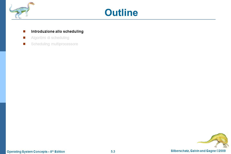 5.24 Silberschatz, Galvin and Gagne ©2009 Operating System Concepts – 8 th Edition Scheduling a priorità -1  Nello scheduling a priorità (priority scheduling) si associa un valore di priorità (intero) ad ogni processo  La CPU è allocata al processo con la priorità più alta  Ad esempio il valore 0 potrebbe indicare una priorità bassa mentre il valore 4095 una priorità alta  In generale non esiste un modo univoco per indicare una priorità alta e la priorità bassa  SJF  SJF è uno scheduling a priorità in cui la priorità è rappresentata dal successivo tempo di burst  Le priorità possono essere assegnate  Internamente: in base al numero di operazioni di I/O e alla lunghezza delle sequenze di operazioni della CPU  Esternamente: importanza del processo, tipo di processo, fondi pagati, politica di assegnazione delle priorità  L'algoritmo può essere:  Senza prelazione (nonpreemptive) – il processo a priorità maggiore viene messo in testa alla coda  Con prelazione (preemptive) – il processo attuale viene prelazionato