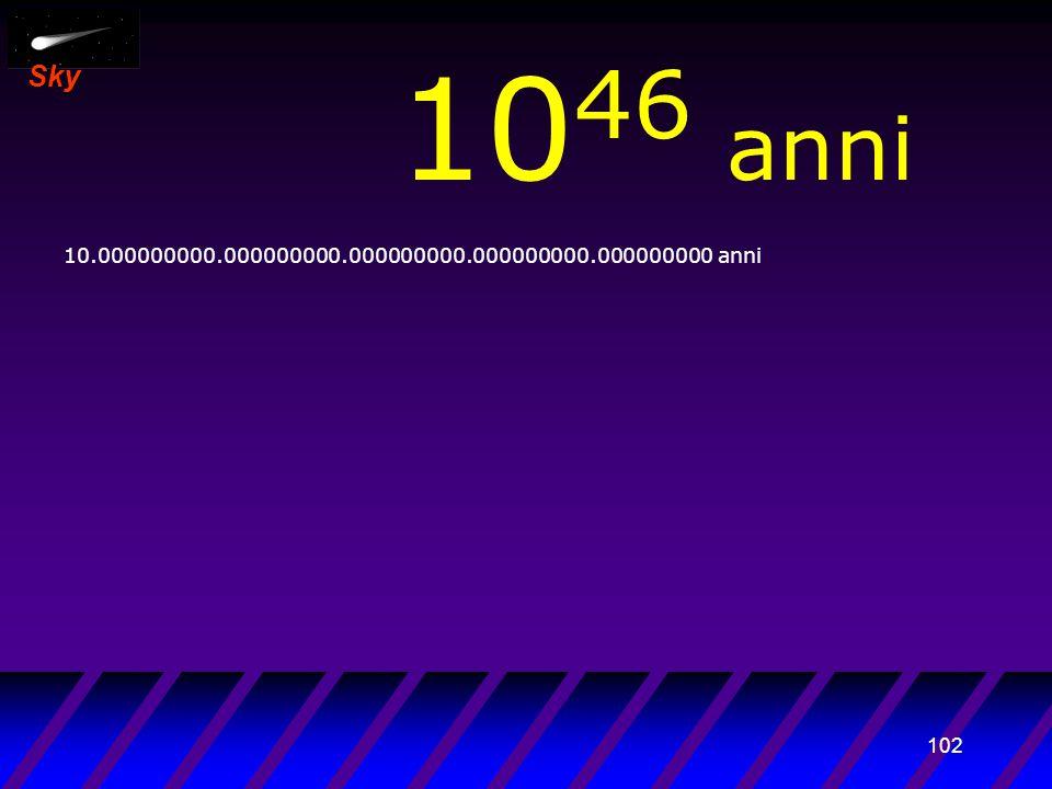 101 Sky 10 45 anni 1.000.000.000.000000000.000000000.000000000.000000000 anni