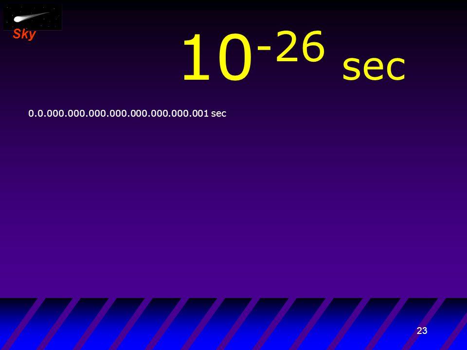 22 Sky 10 -27 sec 0.00.000.000.000.000.000.000.000.001 sec