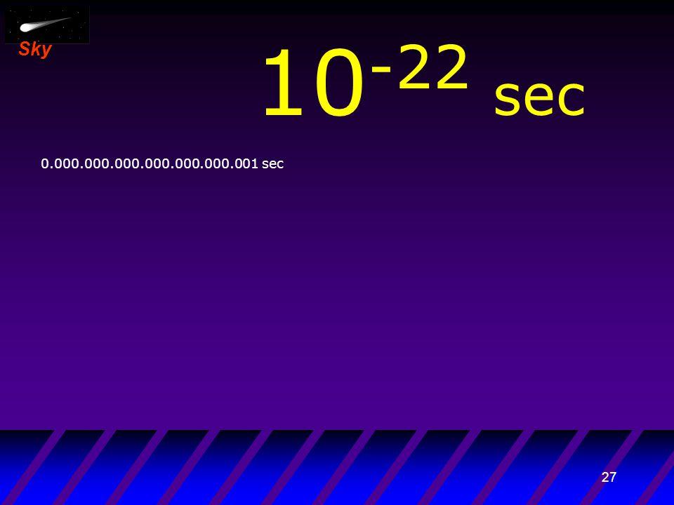 26 Sky 10 -23 sec 0.0.000.000.000.000.000.000.001 sec