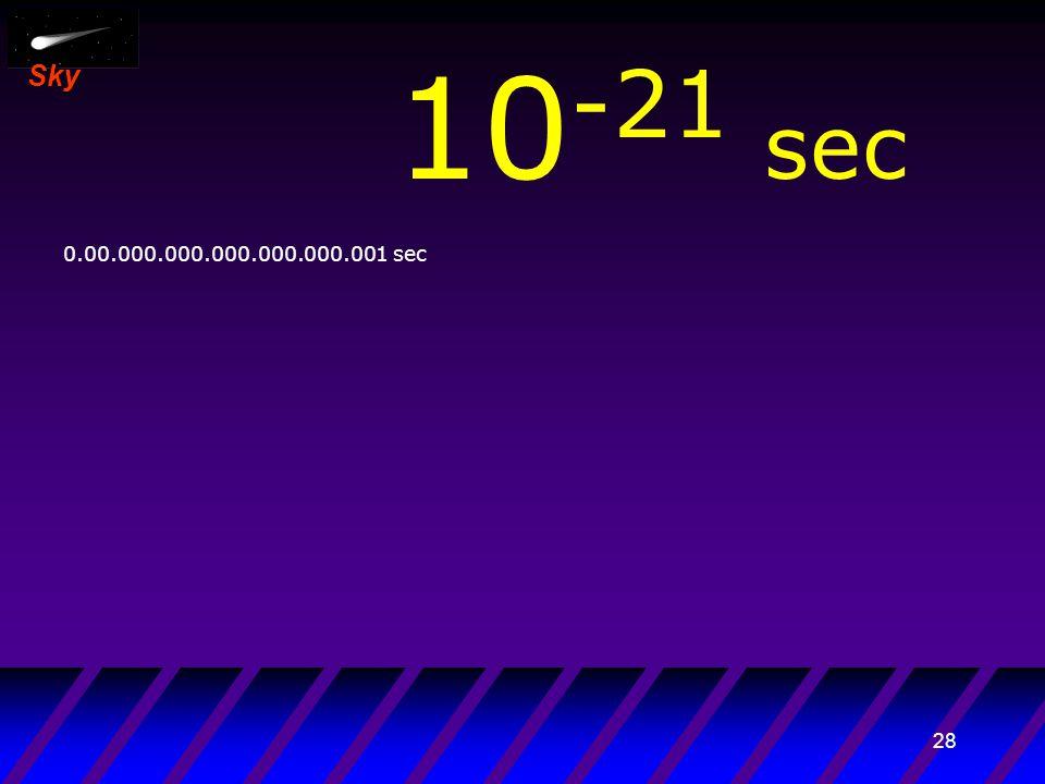 27 Sky 10 -22 sec 0.000.000.000.000.000.000.001 sec