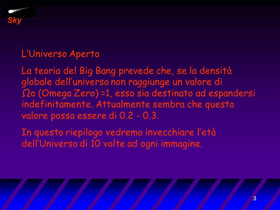 3 Sky L'Universo Aperto La teoria del Big Bang prevede che, se la densità globale dell'universo non raggiunge un valore di Ωo (Omega Zero) =1, esso sia destinato ad espandersi indefinitamente.