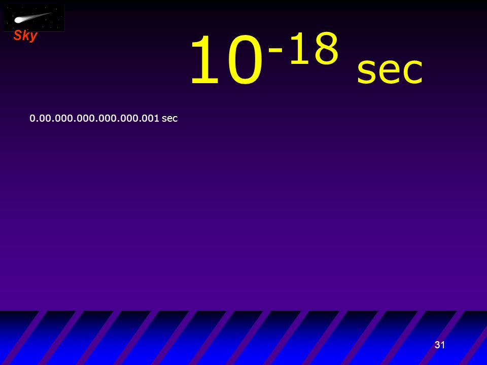 30 Sky 10 -19 sec 0.000.000.000.000.000.001 sec