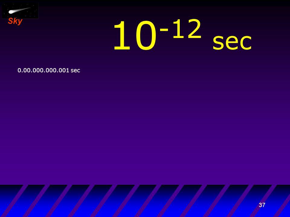 36 Sky 10 -13 sec 0.000.000.000.001 sec