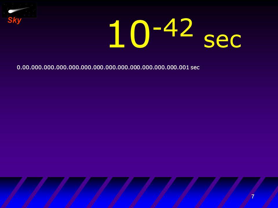 17 Sky 10 -32 sec 0.0.000.000.000.000.000.000.000.000.000.001 sec Finisce l'epoca dell'espansione inflazionaria Era delle radiazioni