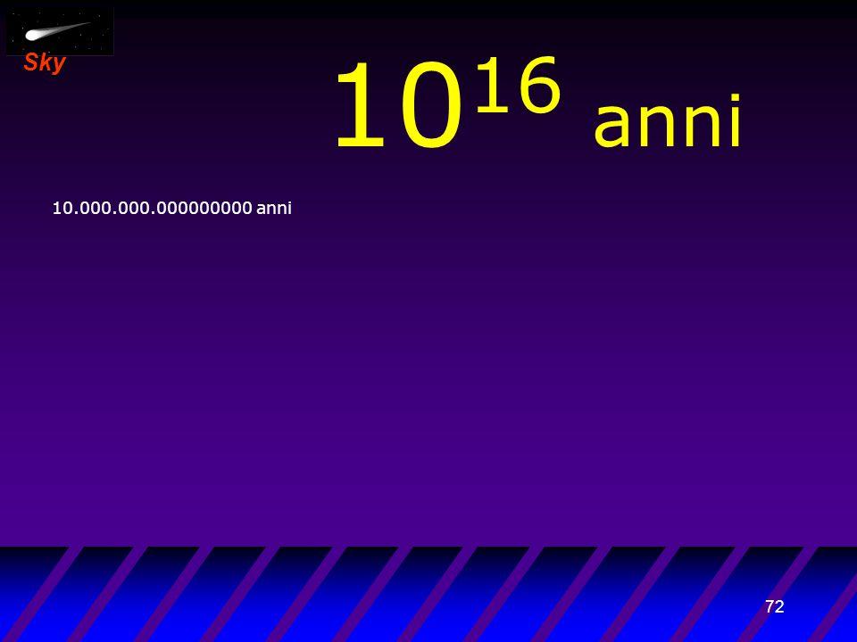 71 Sky 10 15 anni 1.000.000.000000000 anni Era della generazione