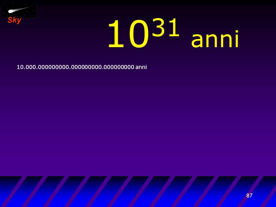 86 Sky 10 30 anni 1.000.000000000.000000000.000000000 anni