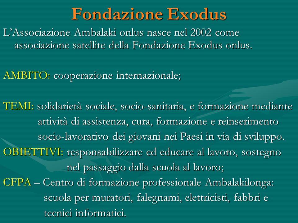 Fondazione Exodus L'Associazione Ambalaki onlus nasce nel 2002 come associazione satellite della Fondazione Exodus onlus.