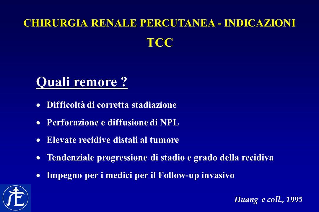 TCC Quali remore ?  Difficoltà di corretta stadiazione  Perforazione e diffusione di NPL  Elevate recidive distali al tumore  Tendenziale progress