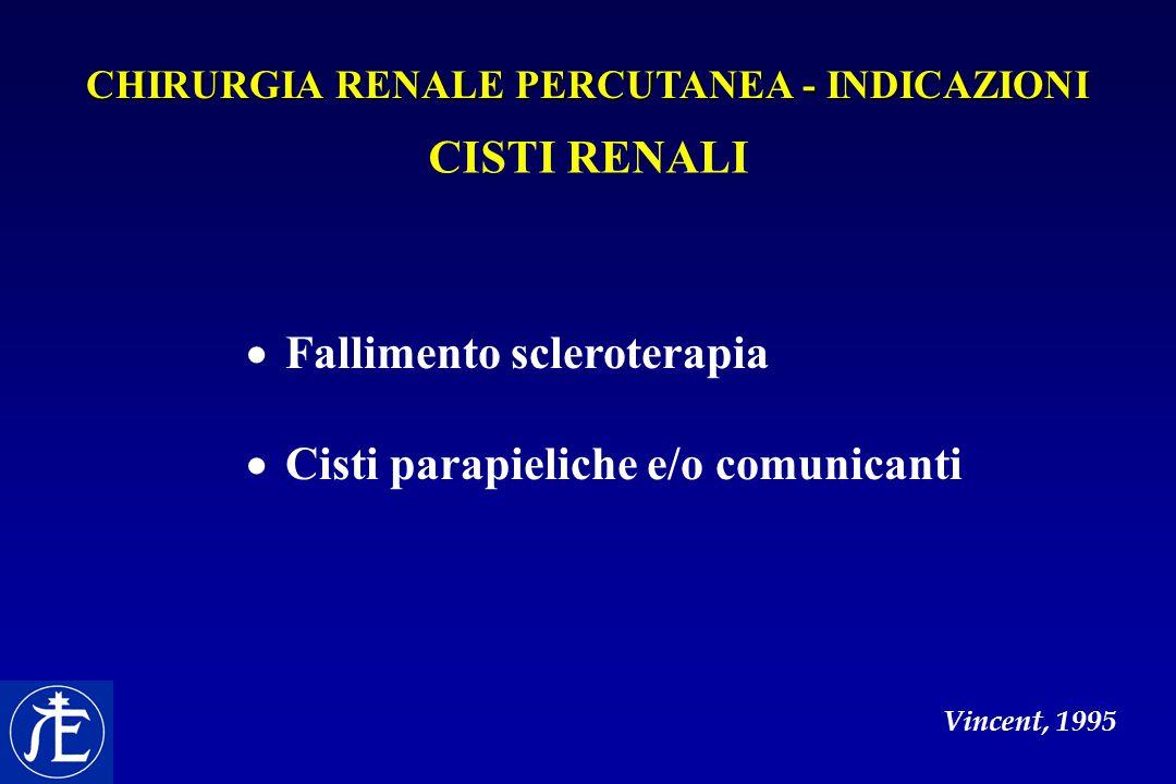 CISTI RENALI  Fallimento scleroterapia  Cisti parapieliche e/o comunicanti Vincent, 1995