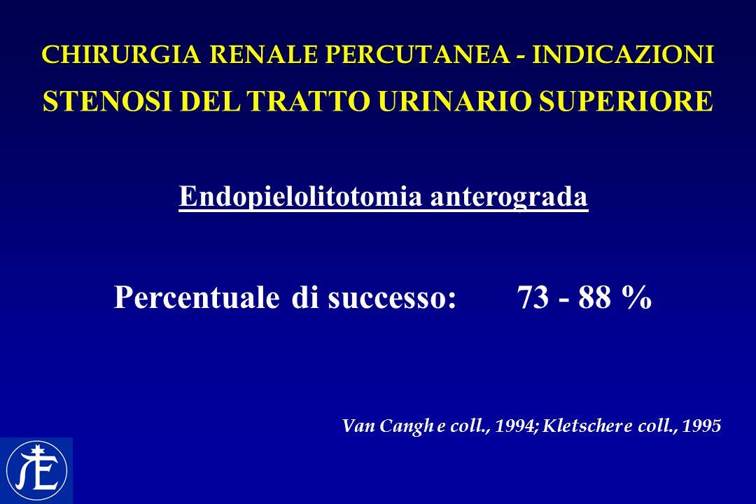 CHIRURGIA RENALE PERCUTANEA - INDICAZIONI STENOSI DEL TRATTO URINARIO SUPERIORE Endopielolitotomia anterograda Percentuale di successo: 73 - 88 % Van