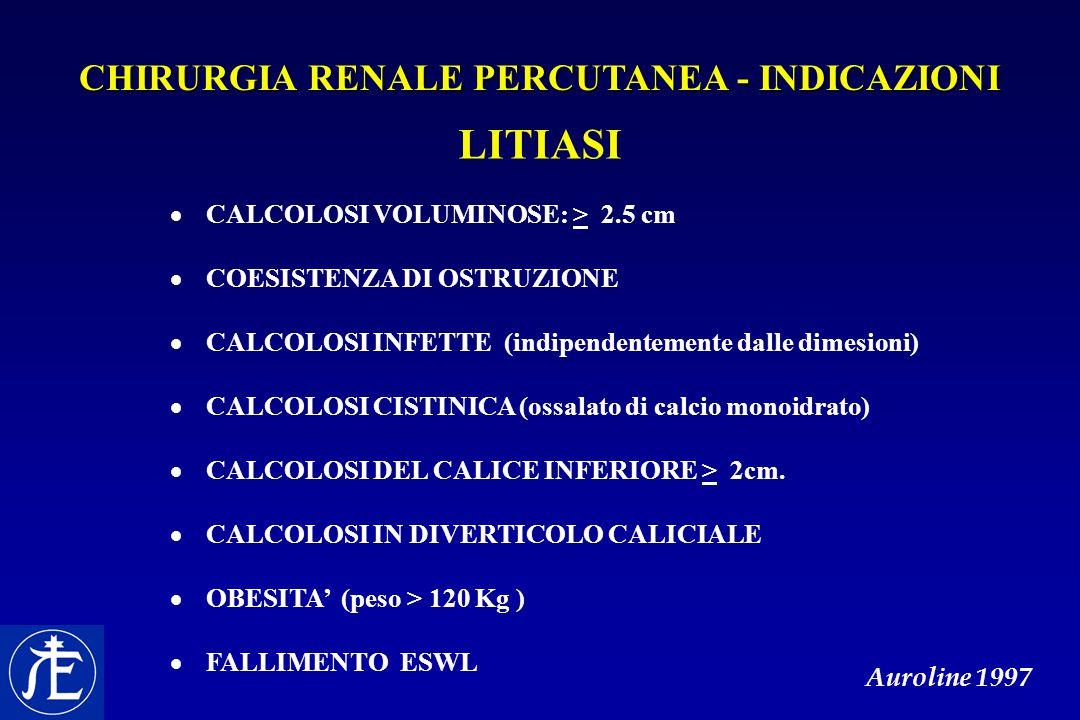 CHIRURGIA RENALE PERCUTANEA - INDICAZIONI LITIASI  CALCOLOSI VOLUMINOSE: > 2.5 cm  COESISTENZA DI OSTRUZIONE  CALCOLOSI INFETTE (indipendentemente