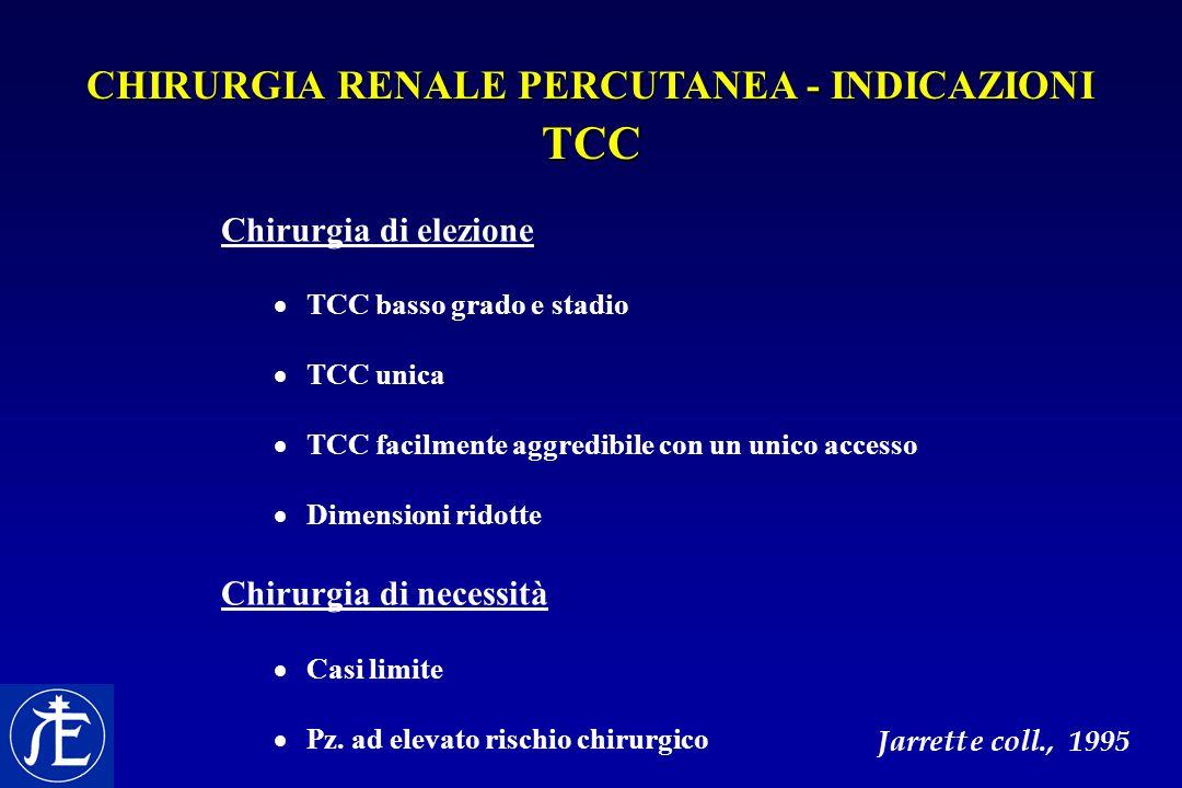 CHIRURGIA RENALE PERCUTANEA - INDICAZIONI TCC Chirurgia di elezione  TCC basso grado e stadio  TCC unica  TCC facilmente aggredibile con un unico a