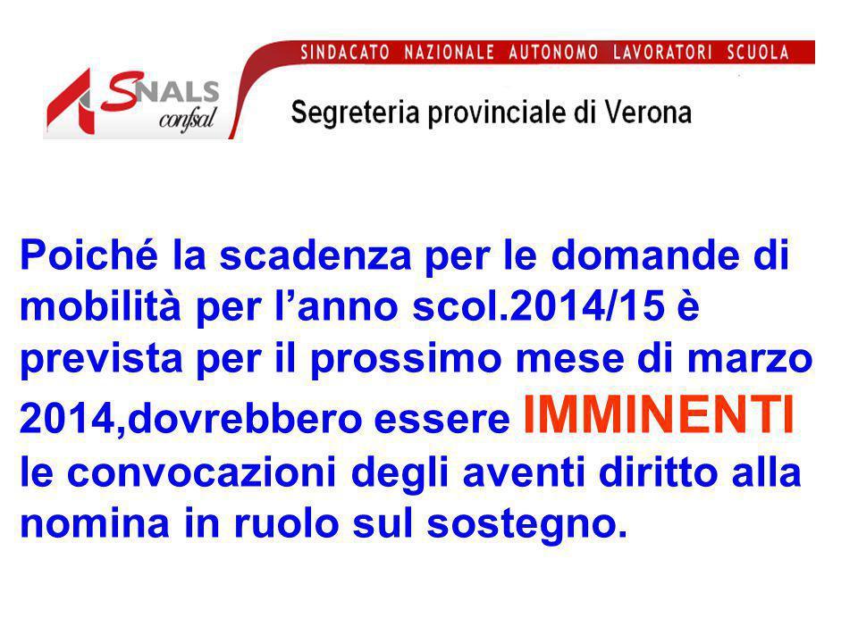 Tutti coloro che sottoscriveranno il contratto a tempo indeterminato potranno presentare domanda di mobilità per ottenere la sede DEFINITIVA da raggiungere in data 01/09/2014.
