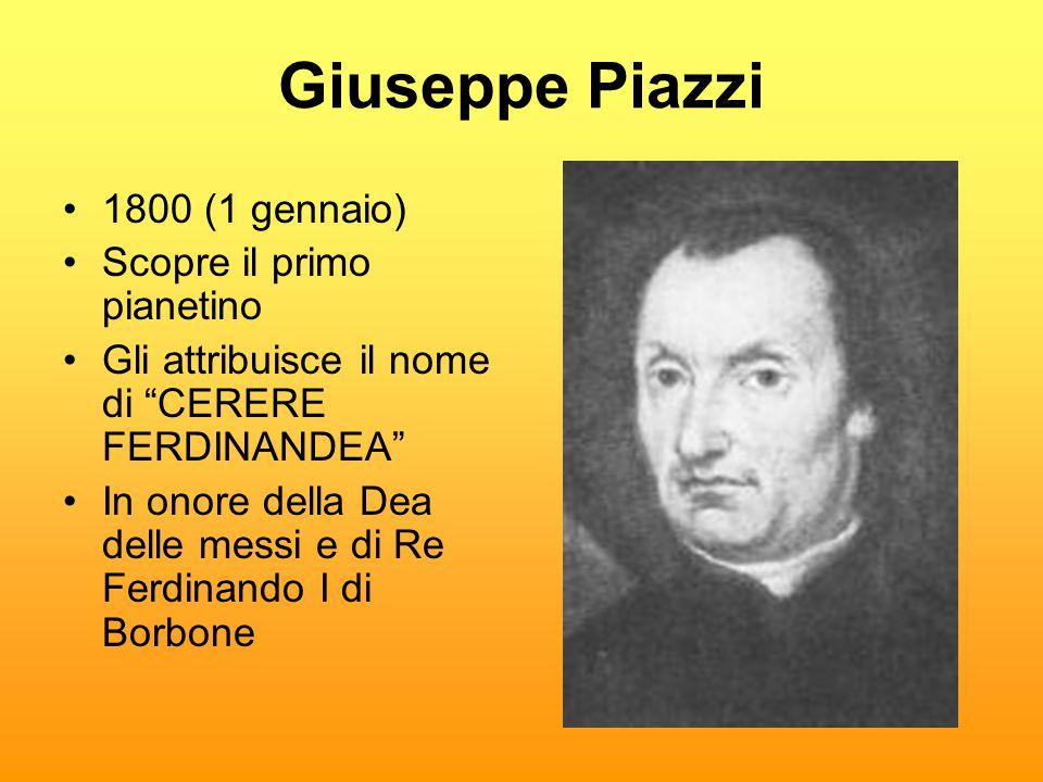 """Giuseppe Piazzi •1800 (1 gennaio) •Scopre il primo pianetino •Gli attribuisce il nome di """"CERERE FERDINANDEA"""" •In onore della Dea delle messi e di Re"""