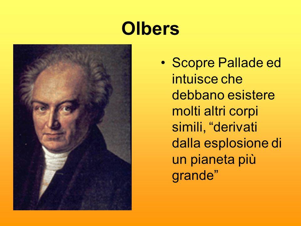 """Olbers •Scopre Pallade ed intuisce che debbano esistere molti altri corpi simili, """"derivati dalla esplosione di un pianeta più grande"""""""