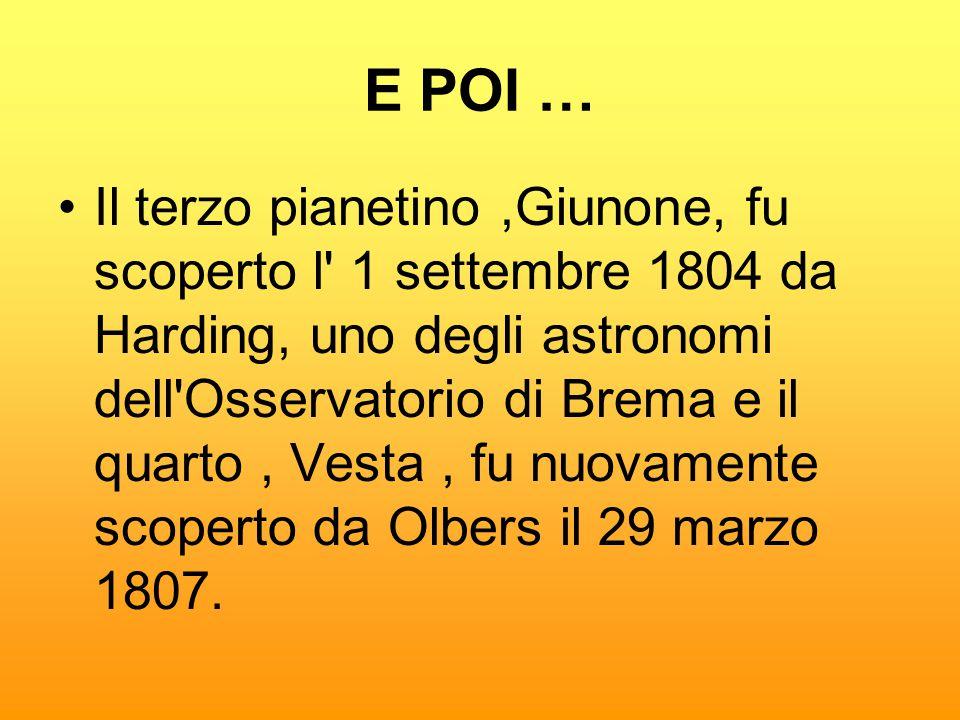 E POI … •Il terzo pianetino,Giunone, fu scoperto l' 1 settembre 1804 da Harding, uno degli astronomi dell'Osservatorio di Brema e il quarto, Vesta, fu