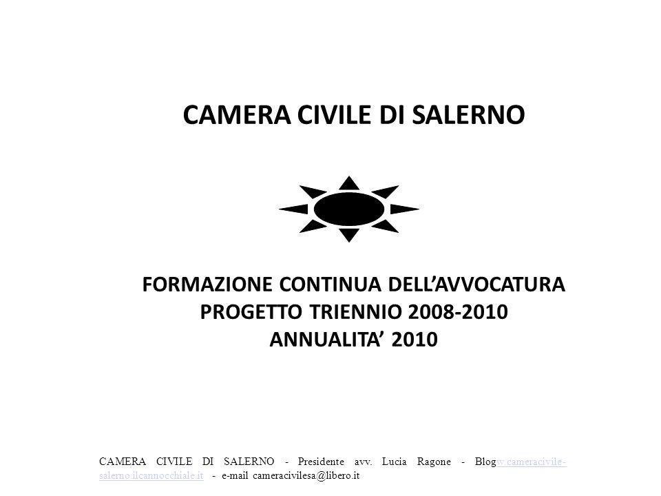 CAMERA CIVILE DI SALERNO FORMAZIONE CONTINUA DELL'AVVOCATURA PROGETTO TRIENNIO 2008-2010 ANNUALITA' 2010 CAMERA CIVILE DI SALERNO - Presidente avv. Lu