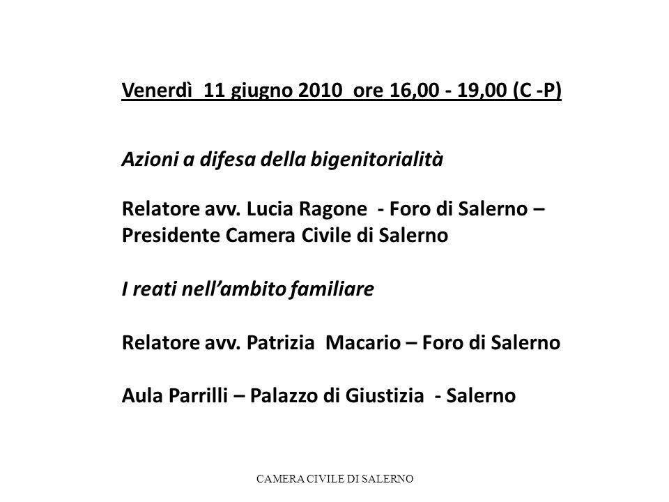 Venerdì 11 giugno 2010 ore 16,00 - 19,00 (C -P) Azioni a difesa della bigenitorialità Relatore avv. Lucia Ragone - Foro di Salerno – Presidente Camera